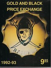 GOLD AND BLACK PRICE EXCHANGE OAKLAND RAIDERS PRICE GUIDE ($9.95) FROM 1992-1993
