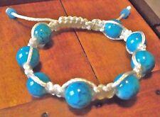 Bracelet Shamballa Perles verres bleu turquoise et cordon blanc Chamballa cadeau