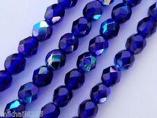 25 6mm Czech Firepolish Beads -- Cobalt AB