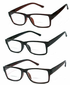 1 or 2 Pairs Mens Womens Vintage Square Frame Clear Bifocal Reading Glasses