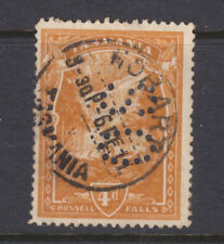"""New listing Tasmania: 4d Pictorial Wmk Ca Inverted Sg 247 Per 12.5 Used Perfin """"Os"""" Scarce!"""