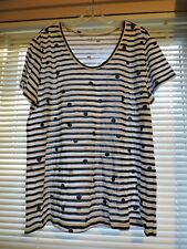NWT- Loft Tee Top White and Navy 100% cotton w/ stripes & dots s/s xl XLARGE