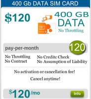 ATT 4G LTE Unlimited Data Hotspot Plan NO CAPS 400 GB $120/Monthly