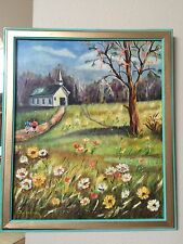 S. CALLIARI Church Scenery Boy & Girl 1950's MIDCENTURY Oil Painting on Canvas