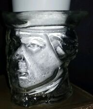 Paul Revere Head Avon Clear Glass Cup Candle Holder Clean Collectors Vintage