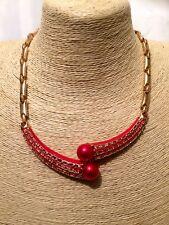 Mujer de las Señoras Declaración Oro Rojo De Varios Colores Pechera Cuello Cadena Collar Con Cuentas