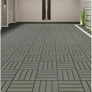 10 Composite Decking Boards WPC Garden Interlocking Tiles Balcony Patio Flooring