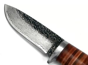 Damascus Steel Thick Fix Blade Knives Hiking Camping Survival Tactical Knife