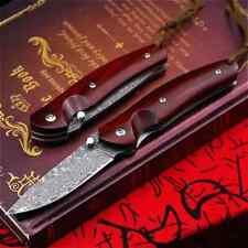 Couteau en bois de santal rouge damas pliant couteau de poche tactique