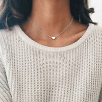 Women Jewelry Pendant 925 Silver Heart Choker Chunky Chain Bib Necklace Charm