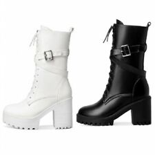 Womens Punk Knight Lace Up Block Heel Platform Round Toe Ankle Boots 41/42/43 D