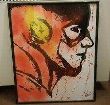 Original signed framed The Flash Street art portrait justice league DC comics