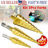 "3Pcs Drill Bit Set Steel Titanium Nitride Coated Step Quick Change 1/4"" Shank"