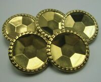 """Lot of 5 Vintage Brass Buttons with Pretty Faceted Pattern 1 3/16"""" Diameter T5"""