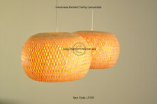 Handmade Rattan Pendant Ceiling Lampshade, Pumpkin Shape, Natural Brown, L013S