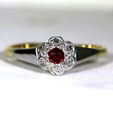 Edwardian Ruby & Diamond Platinum 18ct Yellow Gold Cluster Ring size N ~ 6 3/4