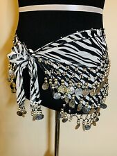 🦓Zebra Print Belly Dance Hip Scarf Wrap Coin Belt with Silver Coins Costume🦓