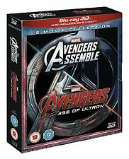 "AVENGERS ASSEMBLE/AGE OF ULTRON MARVEL 2D + 3D BOX SET 4 DISC BLU-RAY RB ""NEW"""