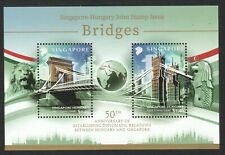 SINGAPORE 2020 BRIDGES HUNGARY JOINT ISSUE SOUVENIR SHEET OF 2 STAMPS IN MINT