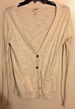 Womens oatmeal cream white Arizona Jean Co. Cardigan Sweater Medium M