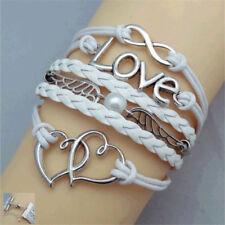 Fashion Jewelry Leather Infinity Love Cuff Bangle Wrap Bracelet Women  B80car