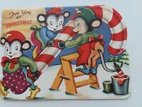 1940-50s Vtg ANTHROPOMORPHIC MICE CANDY CANE Double Side CHRISTMAS GREETING CARD