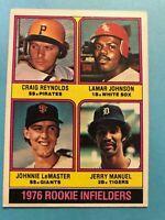 1976 Topps Baseball Card #596 Rookie Infielders Reynolds/Johnson/LeMaster/Manuel
