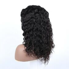 """Discount Sewing Lace Closure Wigs 12"""" Natural Black Color Deep Wave Human Hair"""