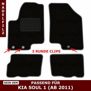 Automatten für Kia Soul AM (ab 2011) - Schwarz Nadelfilz 4tlg, 3 kia clips