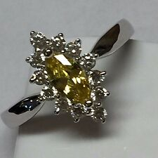Marquise 1ct Yellow Sapphire  925 Solid Sterling Silver Solitaire Ring sz 7