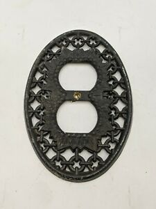 Vintage Ornate Outlet Cover Black Painted Metal Gothic Atomic MCM 5-3/4