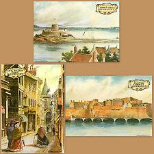 3x Old Postcards Castle Cornet Fort Grey St Peter Port Guernsey Channel Islands