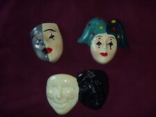 Lot of 3 Clay Art Clown Face Or Masks Refrigerator Magnets