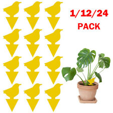 24Pcs Yellow Sticky Fly Trap Paper Traps Fruit Flies Insect Aphids Glue Catcher