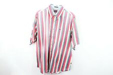 Vintage 90s Streetwear Mens XL Short Sleeve Color Block Striped Button Shirt