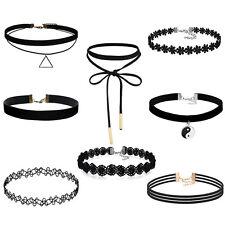 8pieces Choker Necklace Set Stretch Velvet Classic Gothic Tattoo Lace Necklace D