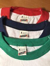 3 x VTG Screen Stars NOS Deadstock Blank Ringer Shirts lot Green Red blue SMALL