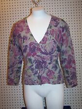 Sarah Spencer womens size PXL wool blend sweater, pink floral on gray, cardigan