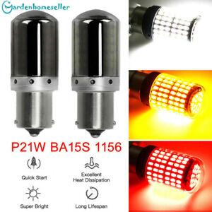 2Pcs 1156 Amber LED Bulb 144SMD Canbus Error Free Reverse Tail Turn Signal Light