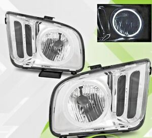 2005 2006 2007 2008 2009 Ford Mustang Chrome Clear Headlights Pair [CCFL Halo]