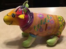 1999 Good Stuff Peace Bull Vintage Cow Stuffed Toy Bright Colors Easter Basket!