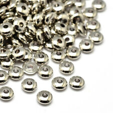 20pcs Platinum Plated Brass Metal Beads Smooth Spacer Findings Flat Round 5x2mm