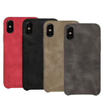 iPhone XS Max XR 8 7 6 Plus 5S Case Leather Skin Slim Back HARD Cover For Apple