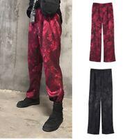 Mens Women Straight Leg Pants Trousers Harajuku Dragon Totem Brocade Paisley