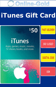Carte-cadeau iTunes $50 USD - Apple Carte Prépayée 50 US Dollars Code Clé USA