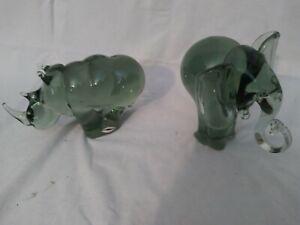 Lot of 2 Large Ngwenya swaziland handmade glass Elephant and Rhino Africa Art