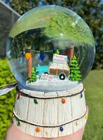 Vintage Wagon Christmas Tree Snow Globe Water Dome Truck Musical Home Decor New