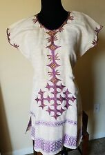 Ethiopian embroidered cotton tunic top.  free size