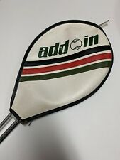 Vintage Add In Model T-1201 Metal Racquet, strung, 4 1/2, Cover, Leather Grip