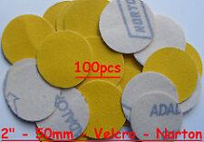 "50mm 80 Grits 100pcs Velcro Hook & Loop 2"" Sanding Discs Made By NORTON UK"